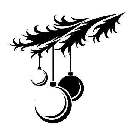 Christmas balls  Vector black silhouette  Illustration