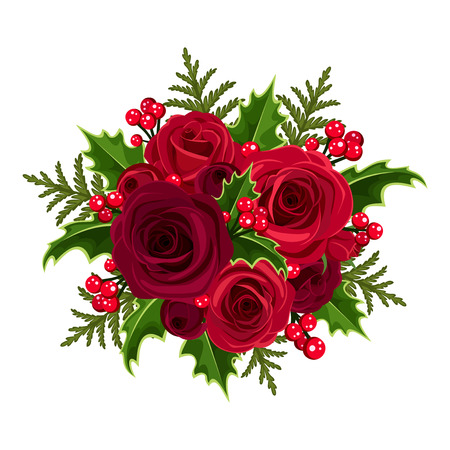 holiday celebrations: Christmas bouquet with roses and holly  Vector illustration