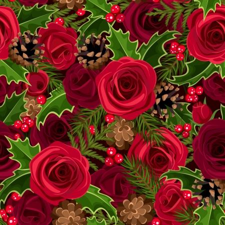 バラとホリー ベクトル イラストとクリスマスのシームレスな背景  イラスト・ベクター素材