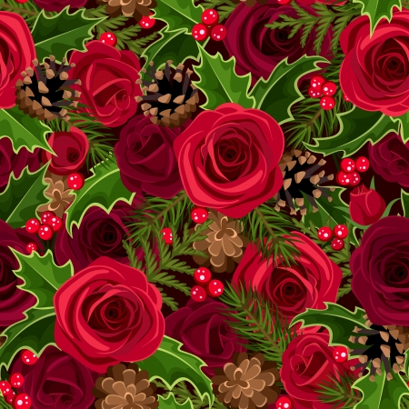 Christmas seamless background with roses and holly  Vector illustration