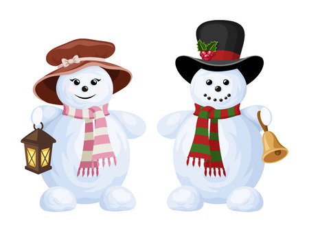 snowman isolated: Two Christmas snowmen  a boy and a girl  Vector illustration