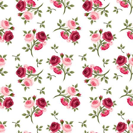 antik: Nahtlose Muster mit roten und rosa Rosen Vektor-Illustration Illustration