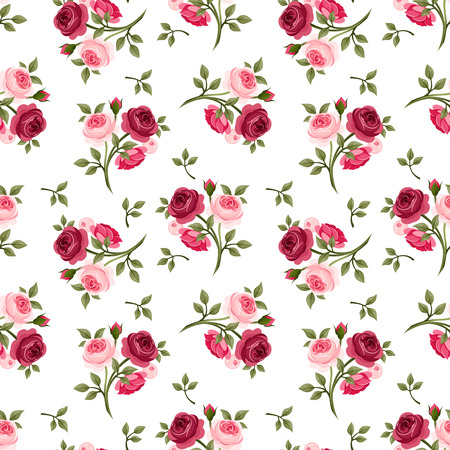 maroon: Seamless pattern with red and pink roses  Vector illustration