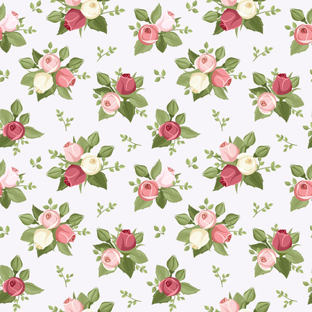 Vector seamless pattern with colorful rose buds on blue    Vector