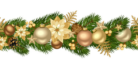 Christmas horizontal seamless background  Vector illustration  Vector