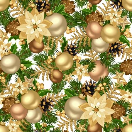 poinsettia: Christmas golden seamless background  Vector illustration  Illustration