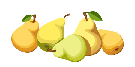 Five ripe pears  Vector illustration