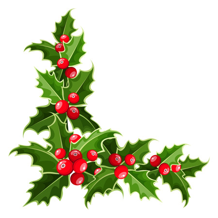 new year border: Decorative corner with Christmas holly  Vector illustration  Illustration