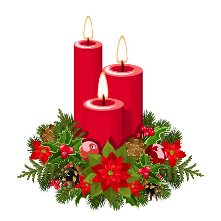 pine cones: Christmas candles  Vector illustration