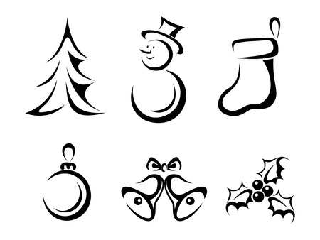 Collection of Christmas elements  Vector black silhouettes  Иллюстрация