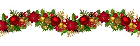 Horizontal de la Navidad de fondo sin fisuras ilustración vectorial