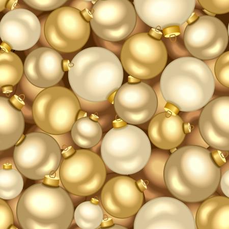 luxo: Fundo sem emenda com as esferas do Natal do ouro