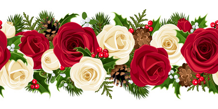 red rose bouquet: Christmas horizontal seamless background with roses  Vector illustration