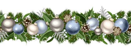 pinecone: Christmas horizontal seamless garland  Vector illustration