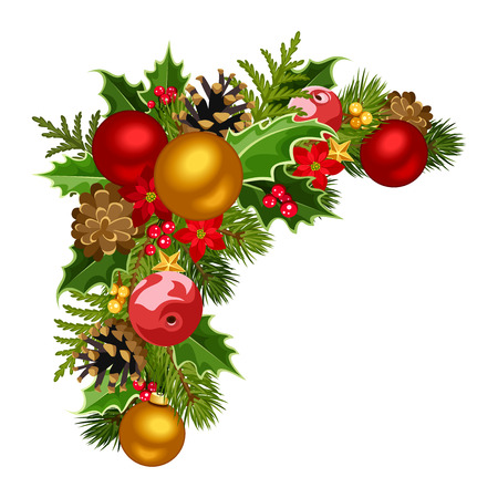 gold corner: Christmas decorative corner  Vector illustration