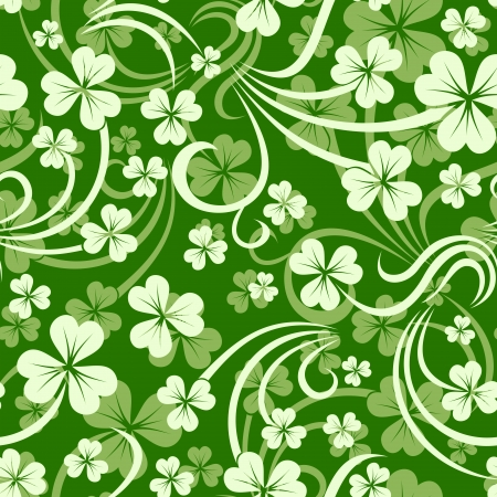 St  Patrick s day vector seamless background with shamrock   Vector