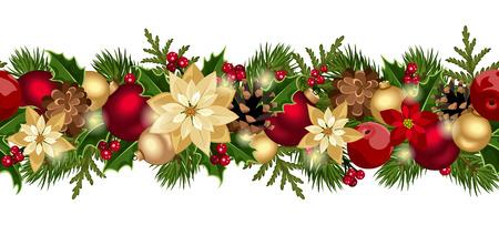 Kerst horizontale naadloze achtergrond vector eps-10 Stock Illustratie