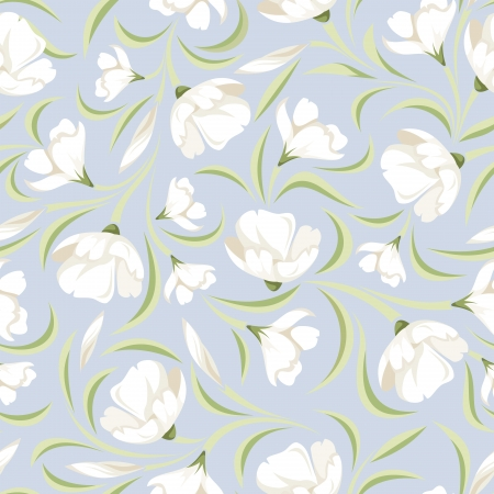 bedclothes: Seamless pattern with white flowers on blue  Vector illustration