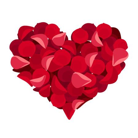 st valentine  s day: Heart of rose petals  Vector illustration