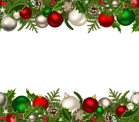Christmas horizontal seamless background  Vector illustration  Vector