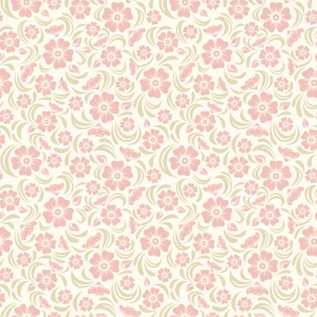 sch�ne blumen: Nahtlose Jahrgang Blumenmuster Vektor-Illustration
