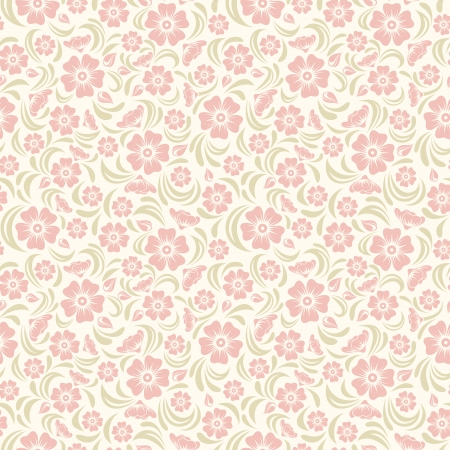 silhouette fleur: Seamless millésime motif floral Vector illustration Illustration