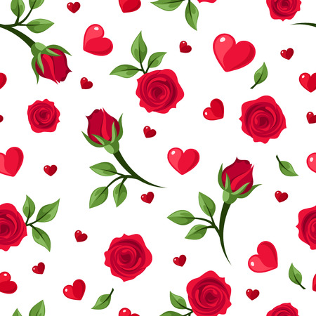 Vector seamless pattern with red roses and hearts on white   Ilustracja