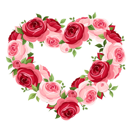 Roses heart frame  Vector illustration  Vector
