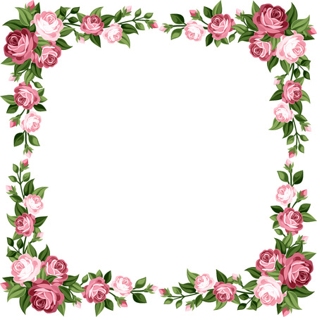 Vintage frame with pink roses  Vector illustration