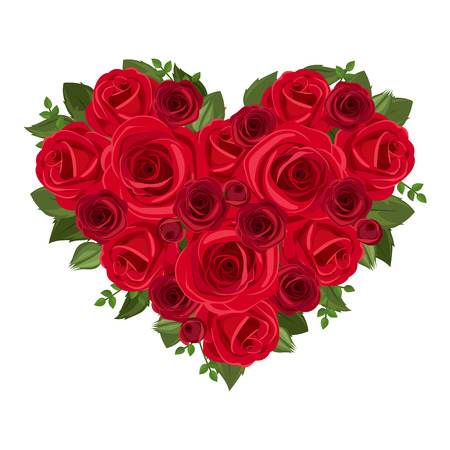st valentine day: Heart bouquet of red roses  Vector illustration