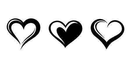 fekete-fehér: Fekete sziluettek szívüket ábra Illusztráció