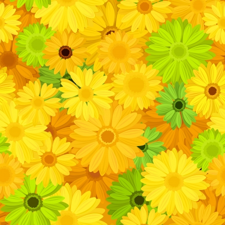 Seamless background with gerbera flowers  Vector illustration  Vector