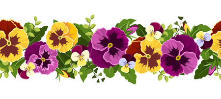 Sfondo senza soluzione di continuità orizzontale con fiori viola del pensiero, illustrazione vettoriale