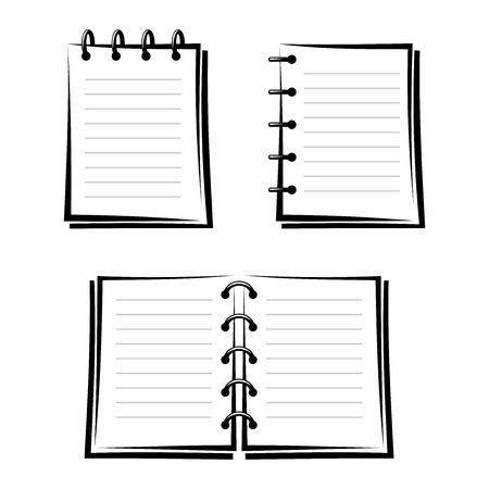 Set van drie notebooks zwarte silhouetten Stockfoto - 24831540