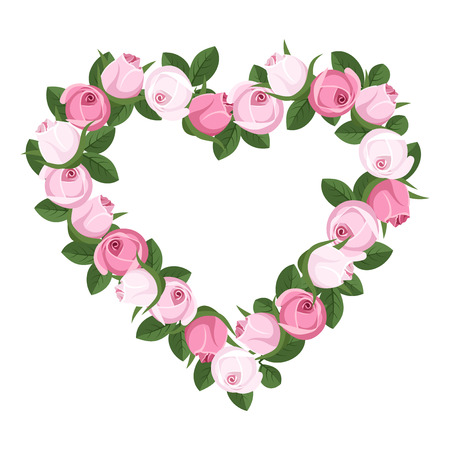 Heart of rose buds  Vector illustration  Vector