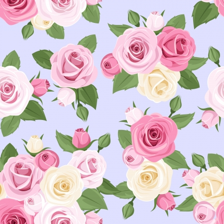 Pink and white roses on blue  Vector seamless pattern  Vector