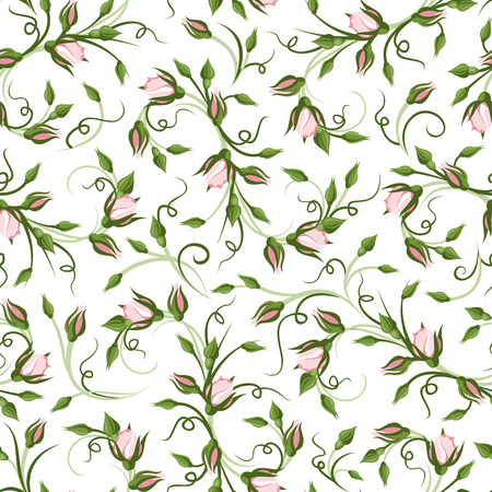 whorl: Seamless pattern with rose buds  Vector illustration