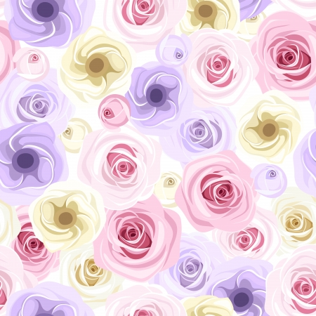 tea rose: Seamless with roses and lisianthus flowers  illustration  Illustration