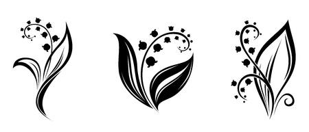 은방울꽃 꽃 벡터 검은 실루엣의 일러스트