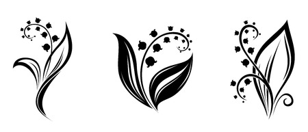 Lily of the valley flowers  Vector black silhouettes  Illustration
