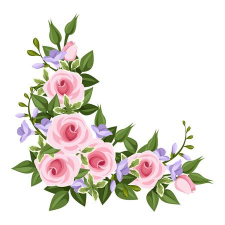 old english: Pink roses corner  Vector illustration