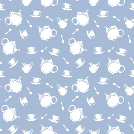 blue white kitchen: Seamless background with teapots and cups  Vector illustration