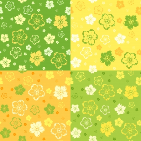 Set of four seamless patterns with flowers  Vector illustration  Vector