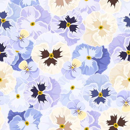 Seamless pattern with pansy flowers  Vector illustration  Vector