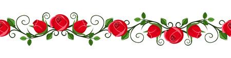 decorative lines: Vi�eta sin fisuras horizontales vintage con rosa roja ilustraci�n vectorial brotes