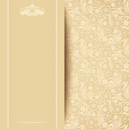ivory: Vector beige card with floral pattern  Illustration