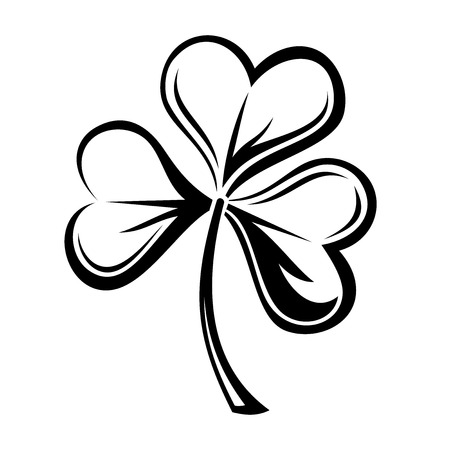Black silhouette of shamrock  Vector illustration