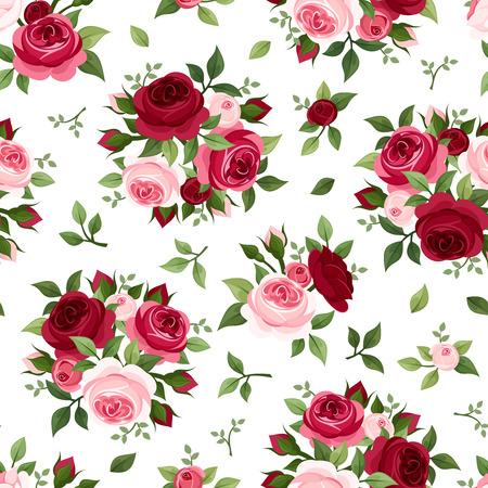 빨간색과 분홍색 장미 벡터 일러스트와 원활한 패턴 일러스트