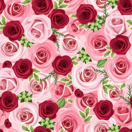 dekorativa mönster: Sömlös bakgrund med röda och rosa rosor, vektor, Illustration Illustration