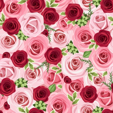 background: Seamless background with red and pink roses  Vector illustration